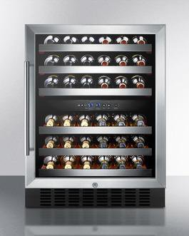 "Summit SWC530BLBIST 34.25"" x 23.63"" x 23.38"" Dual Zone Wine Cellar Refrigerator with 46 Bottle Capacity, 115 Volts"