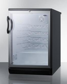 "Summit SWC6GBLBI 24"" 5.5 cu. ft. Stainless Look Undercounter Compact Wine Chiller"