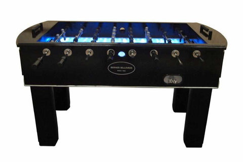 Image of Berner Billiards The Florida Outdoor Foosball Table in Blue with both 1 & 3 man Goalie