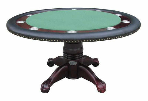 "Berner Billiards 60"" Round Poker Table w/ Optional Dining Top in Mahogany"