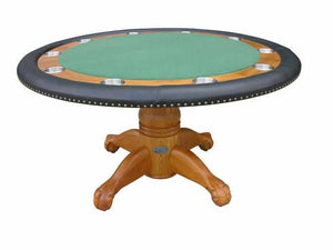 "Berner Billiards 60"" Round Poker Table w/ Optional Dining Top in Oak"