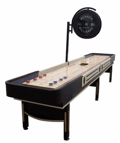 Image of Berner Billiards The Pro Shuffleboard Table with Electronic Scoring in Espresso & Maple