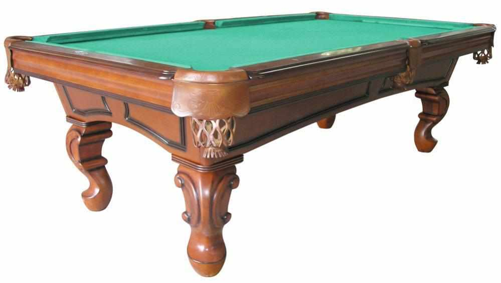 Furniture Pool Table with Queen Anne Leg in Antique Walnut