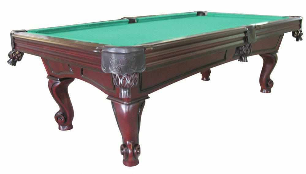 Furniture Pool Table with Rams Horn Leg in Mahogany