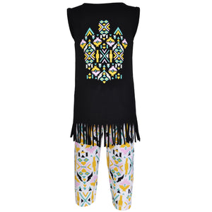 AnnLoren Girls Boutique Tribal Tunic and Legging Capri Set