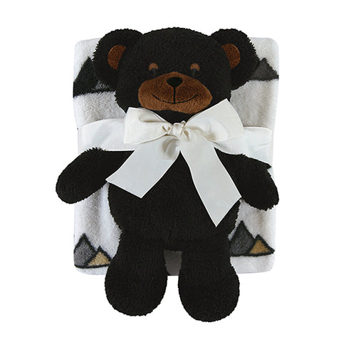 Black Bear Blanket Toy Set