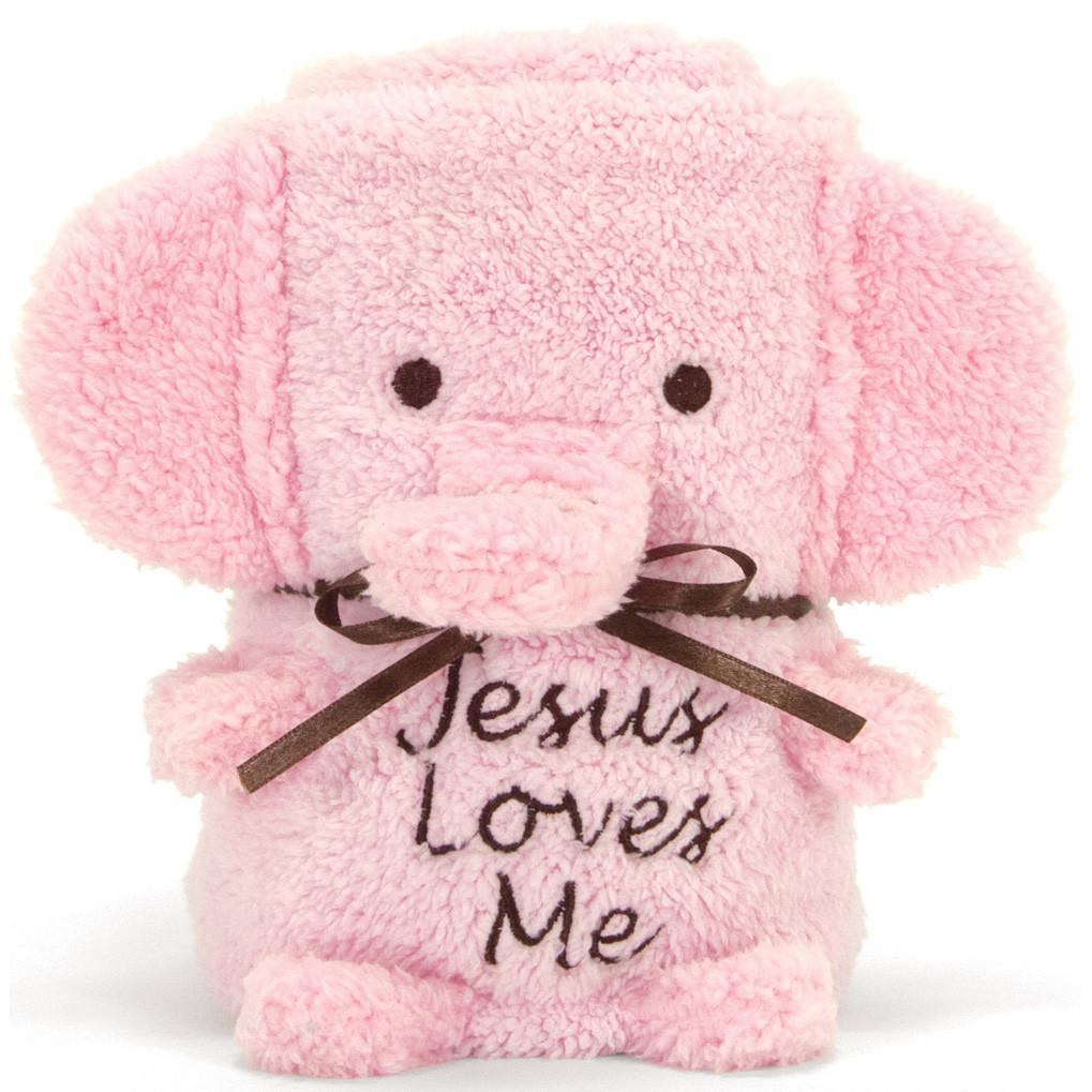 Elephant Blankie with Jesus Loves Me - Blue or Pink