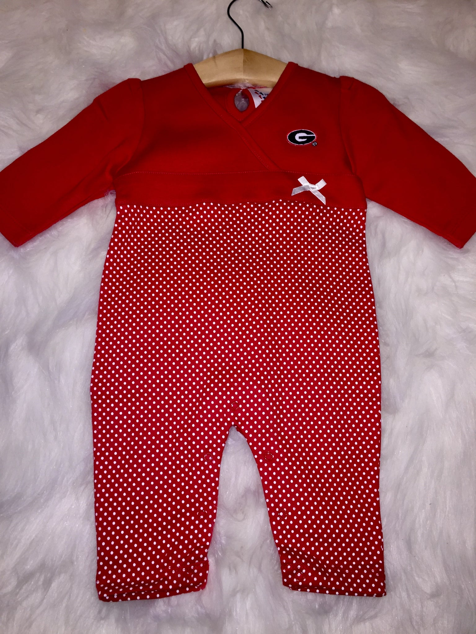Red UGA  long sleeve romper (6Months)