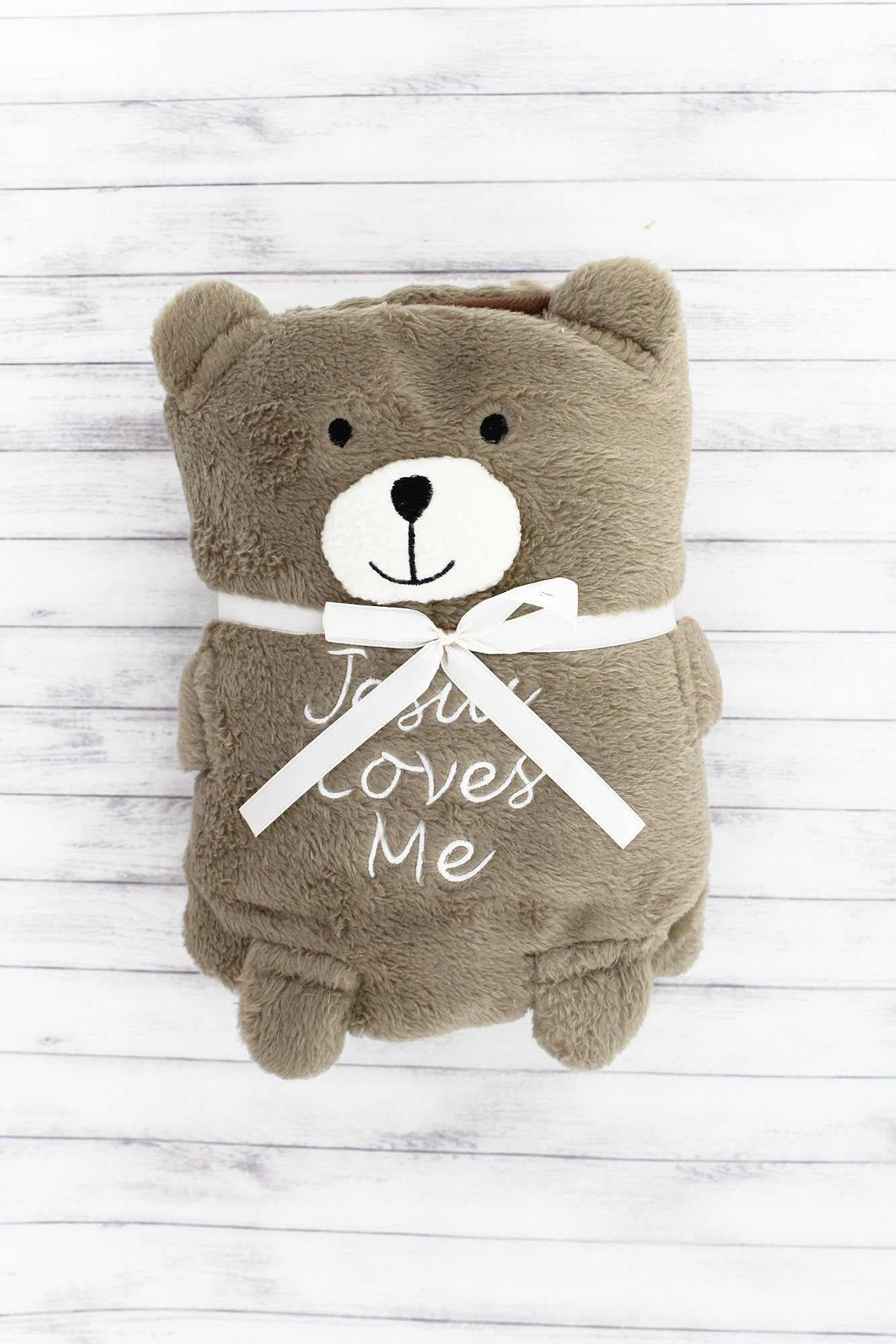 Jesus Loves Me Teddy Bear Baby Blankie