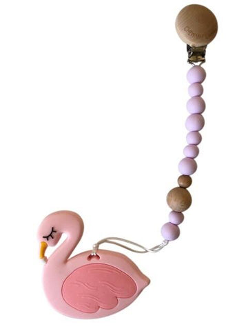 Pacifier Clip - Lavender + Silicone Flamingo Teether