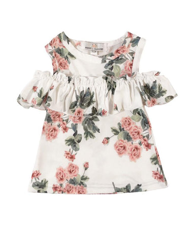 Lilly Peek-a-Boo Shoulder Top - Peach Floral