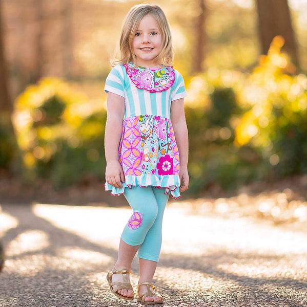 Girls Spring Pink & Blue Floral & Stripe Panel Dress & Capri Outfit