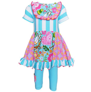 Girls Spring Pink & Blue Floral & Stripe Panel Dress & Capri Outfit (2-3T)