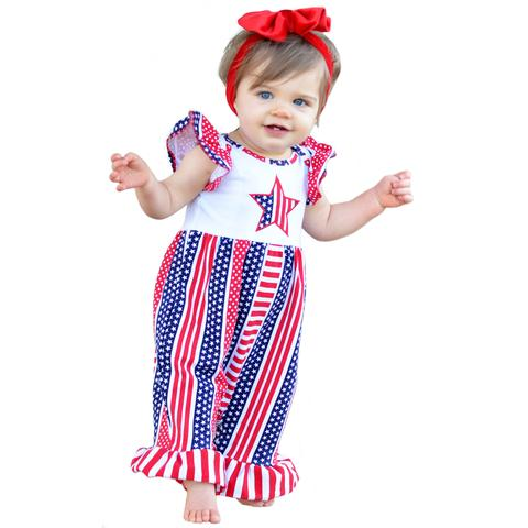 4th Of July American Flag Romper
