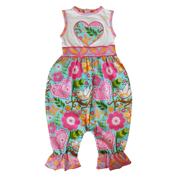 Baby Girls Love Dove Hearts  Romper