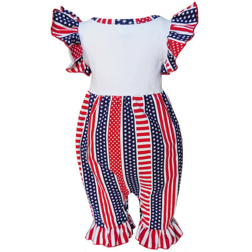 4th Of July American Flag Romper (12-18m)