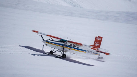 Plane flying during winter