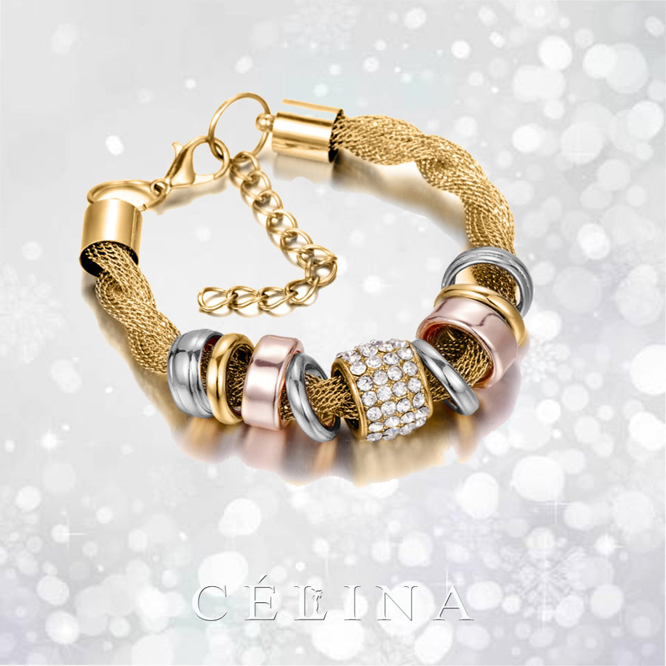 Golden Fashion Tornado Crystal Bracelet