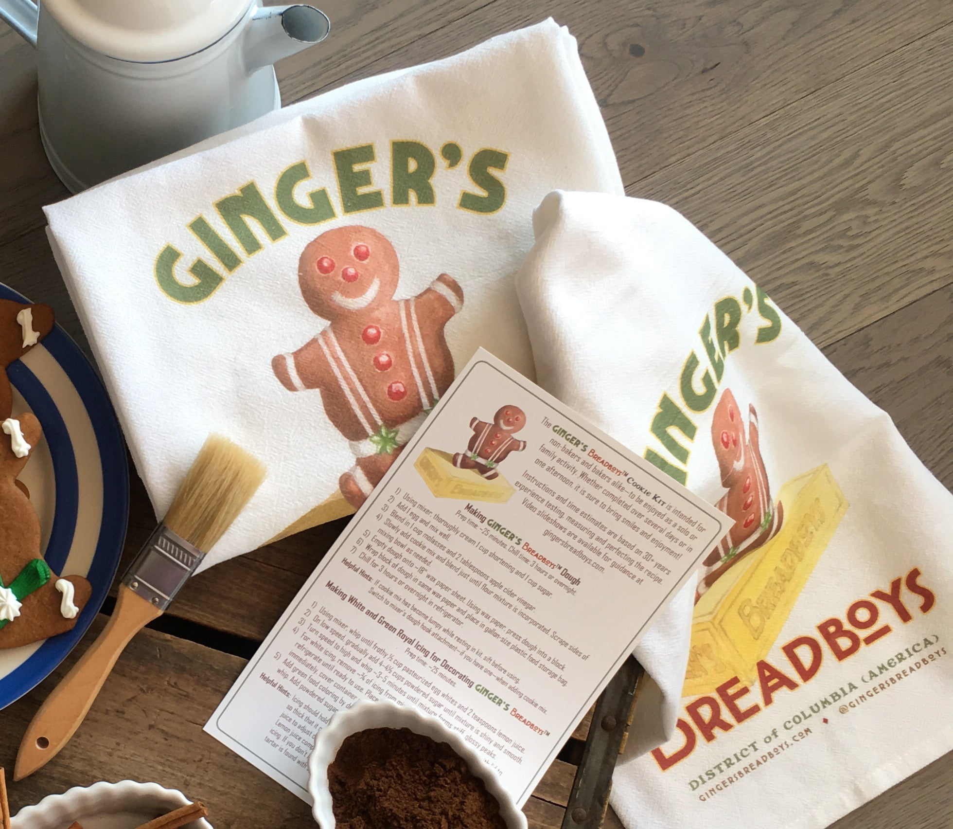 Ginger's Breadboys branded flour sack kitchen tea towels