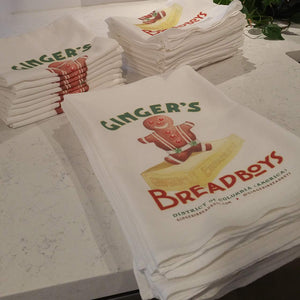Nostalgic look kitchen tea towels.  Gingerbread inspired from Ginger's Breadboys gingerbread kits.