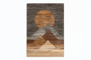 "Blood Moon 22""x32"" Landscape wood wall art"