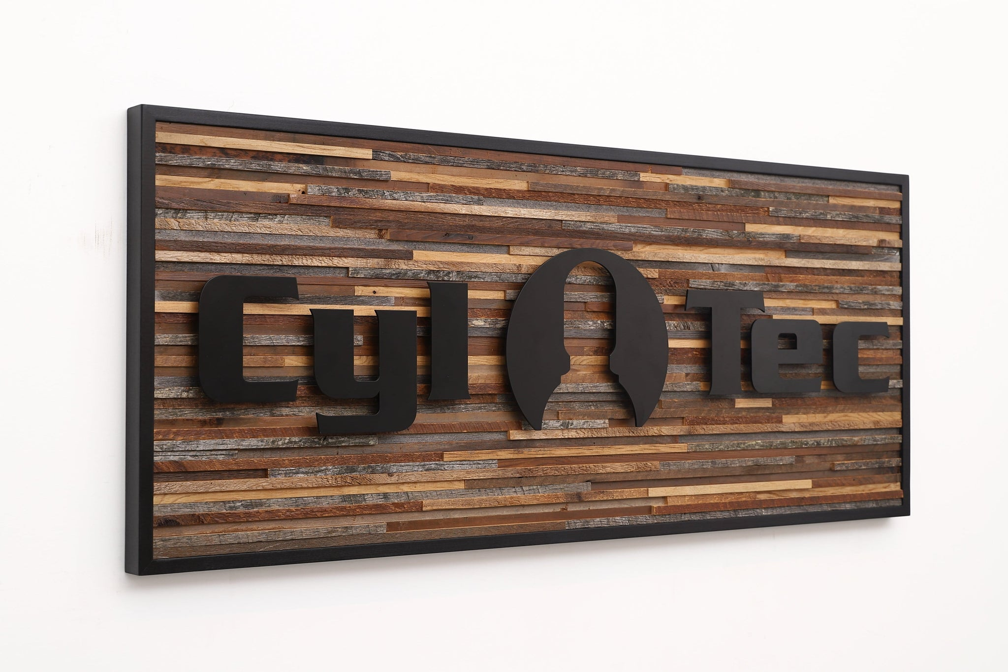 wood and metal company sign