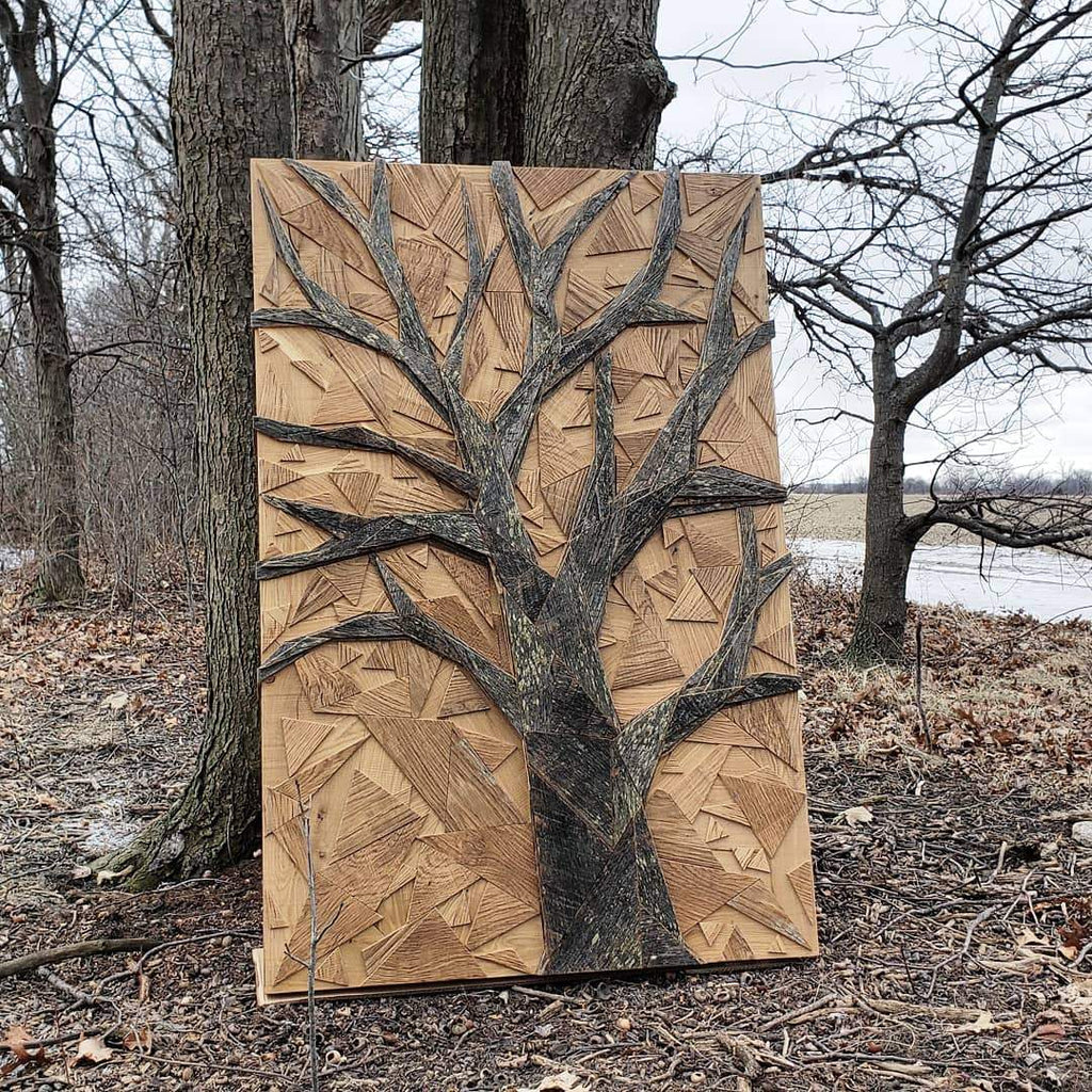 geometric wood tree wall art