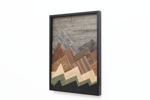 reclaimed wood mountainscape artwork
