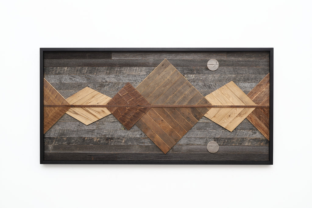 reclaimed wood mountain range, mirrored reflection
