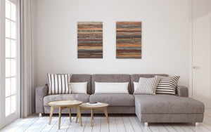 reclaimed wood wall art, sedimentary rock layers
