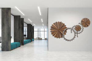 metal and wood wall installation artwork