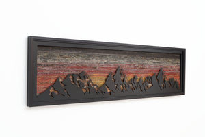 metal & wood mountainscape, wood wall art