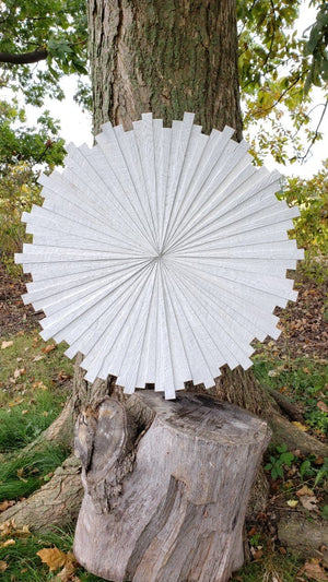 white starburst wood art