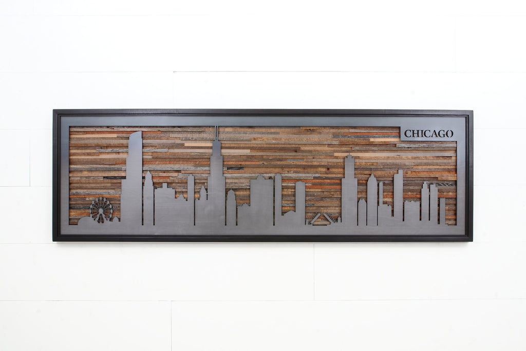 Chicago skyline, wood wall art