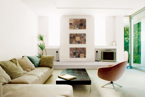 Cube Triptych artwork: Geomtric wood wall art