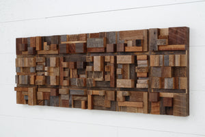 geometric cube wood wall art