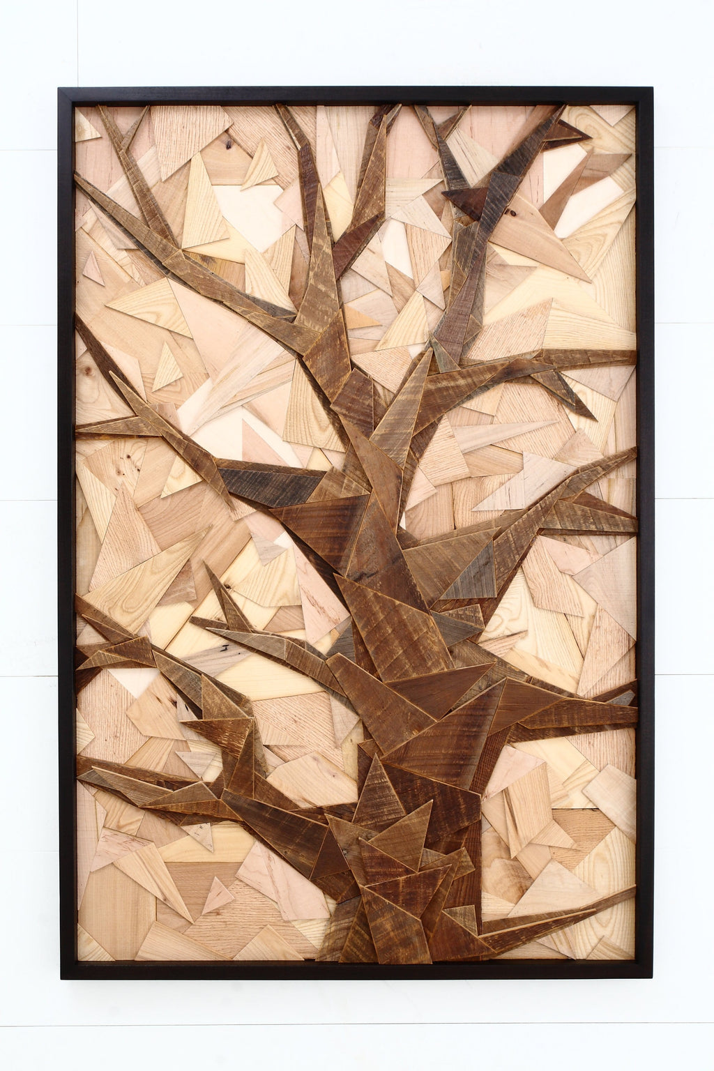geometric wood tree sculpture