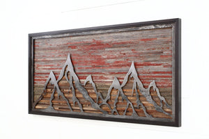 sunset mountainscape wood & metal wall art