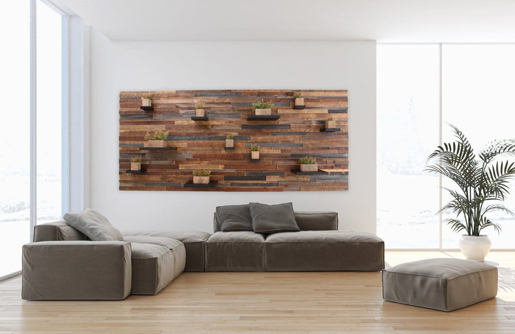 Large floating shelf wall art