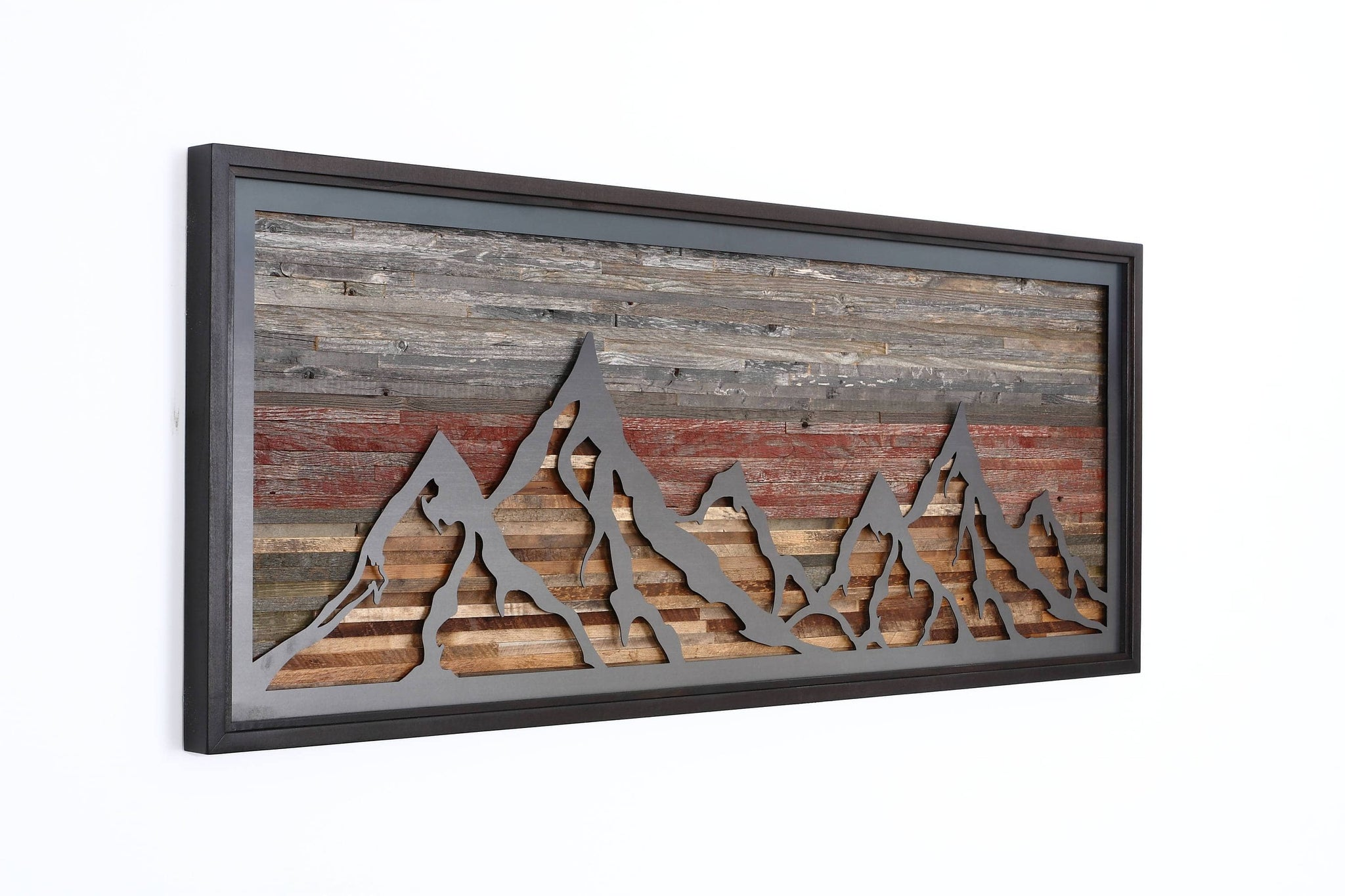 Mountainscape metal & wood wall art