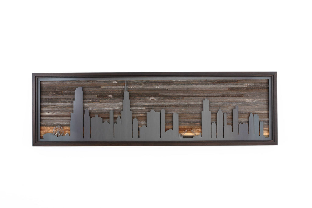 "Chicago city night skyline 60""x18"""