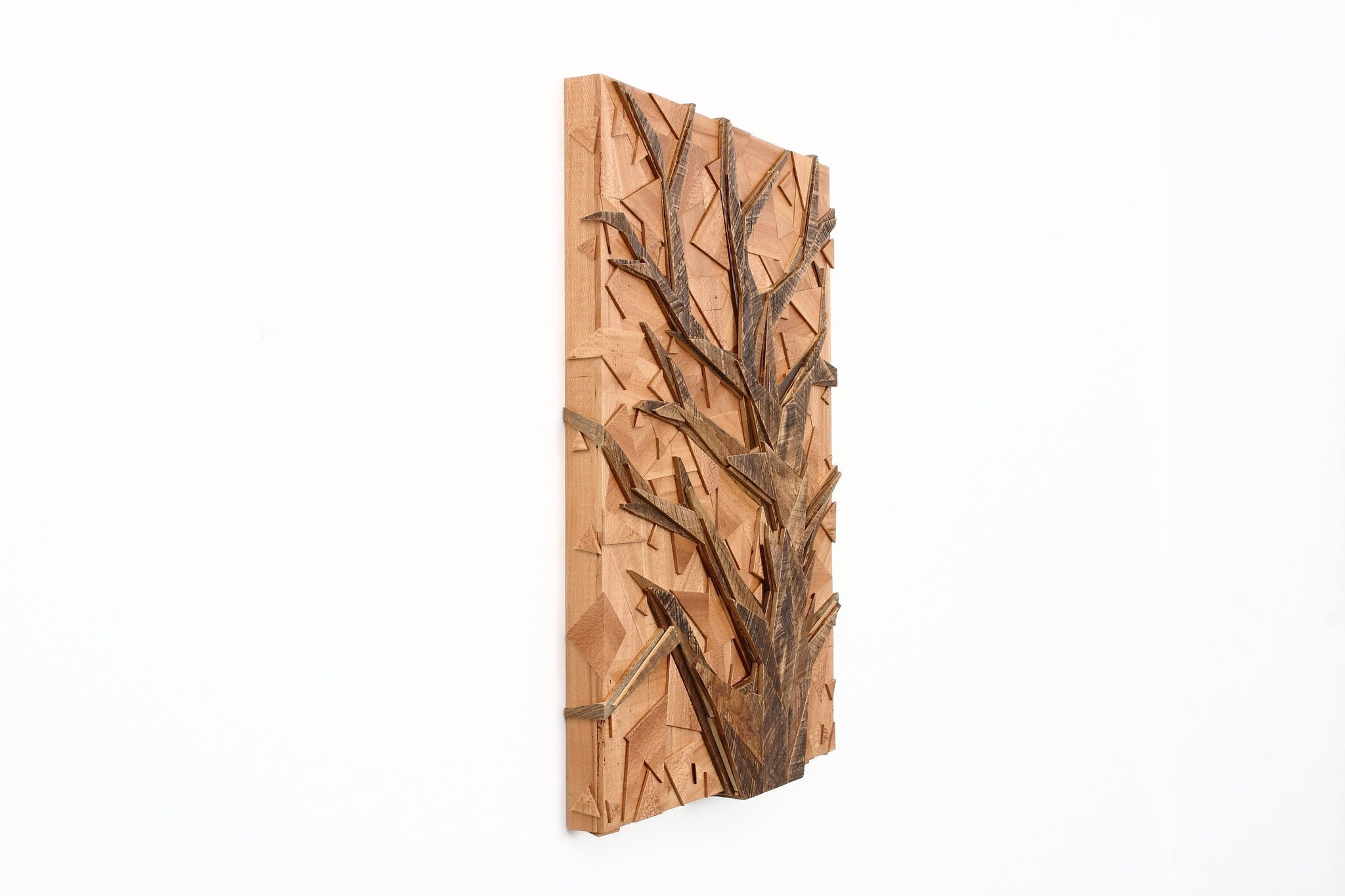 Geometric wood tree art