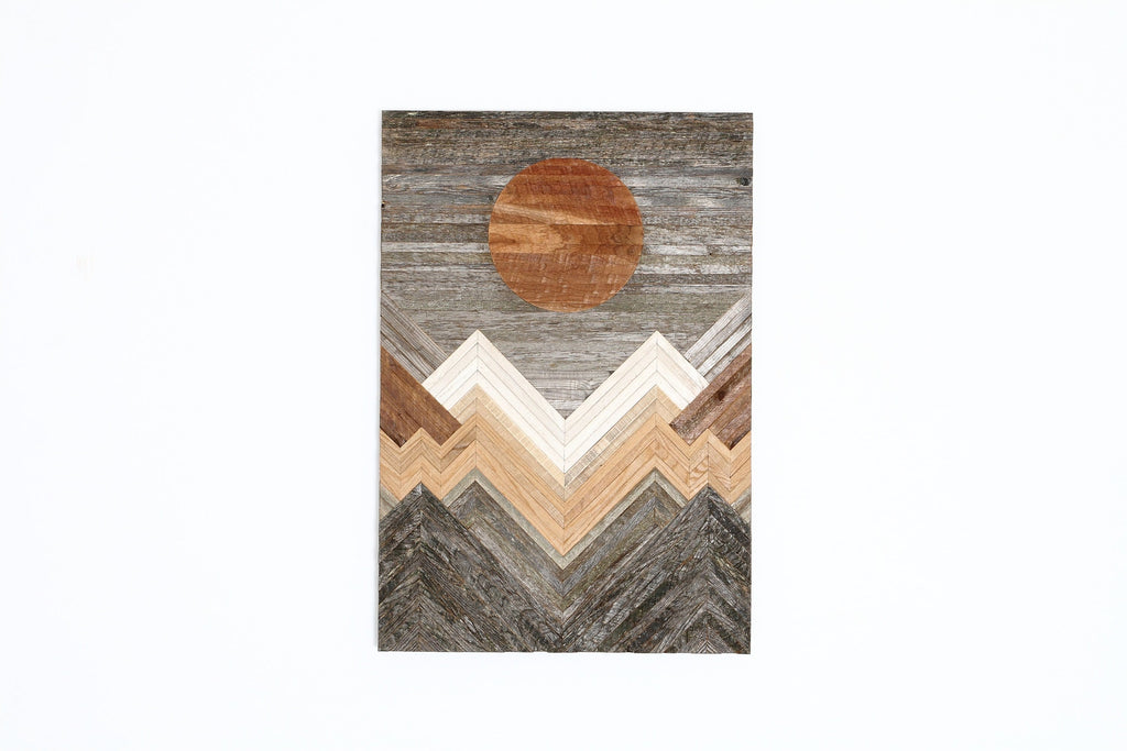reclaimed wood mountainscape wall art