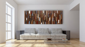 Wood wall art made of old reclaimed barnwood