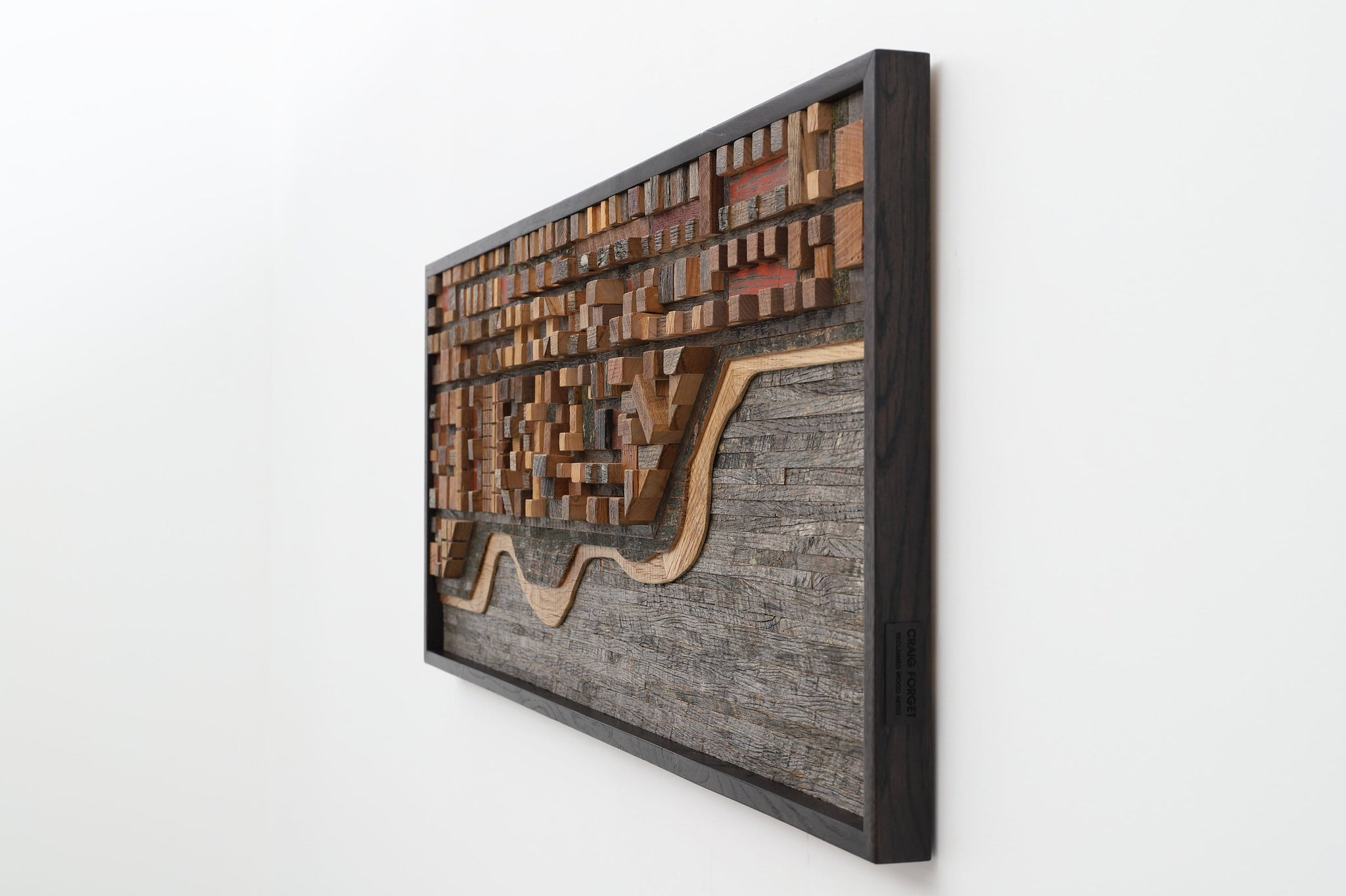 wood ocean cityscape, large wood wall sculpture