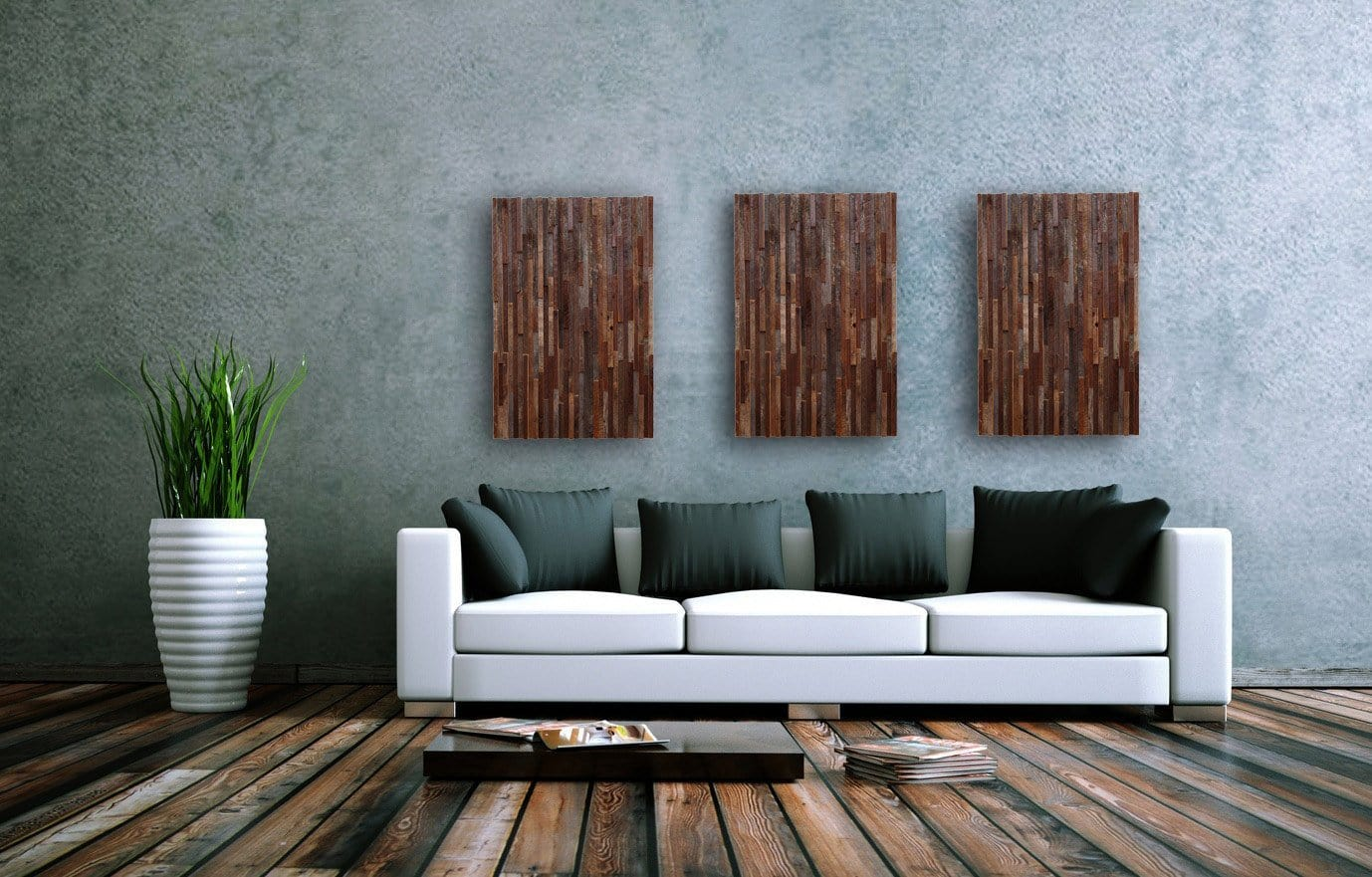 3 piece reclaimed wood wall art
