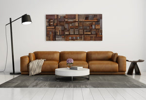 Geometric reclaimed wood wall art