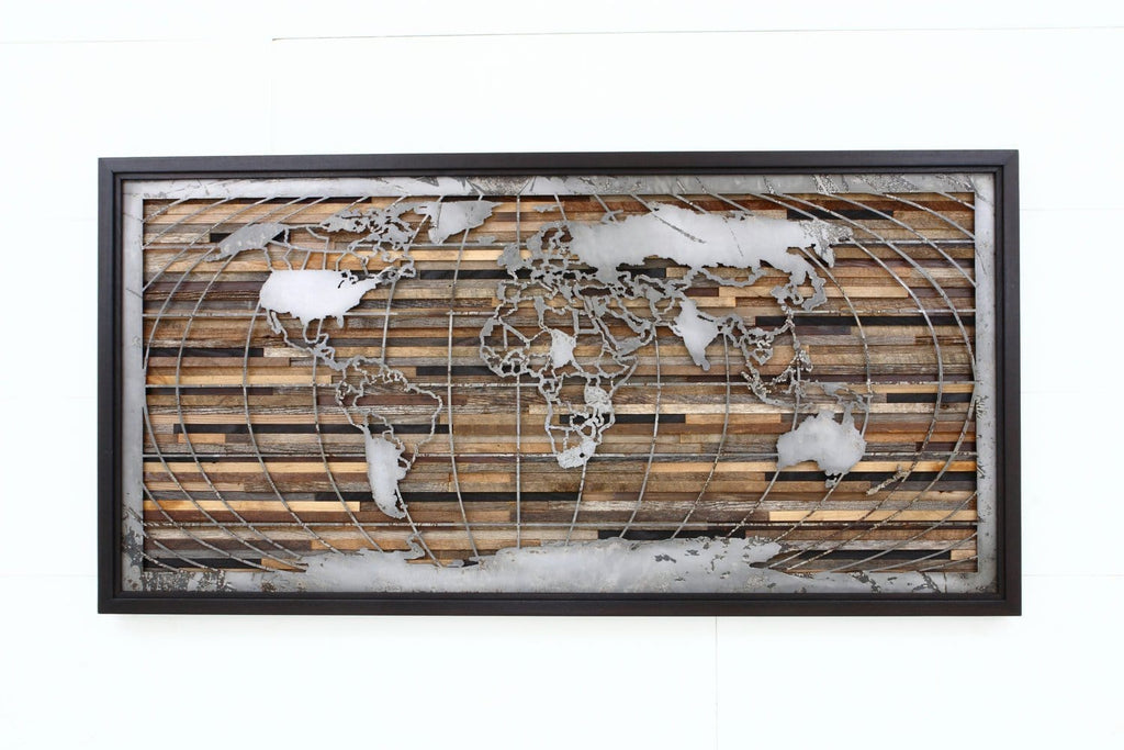 wood & metal world map artwork