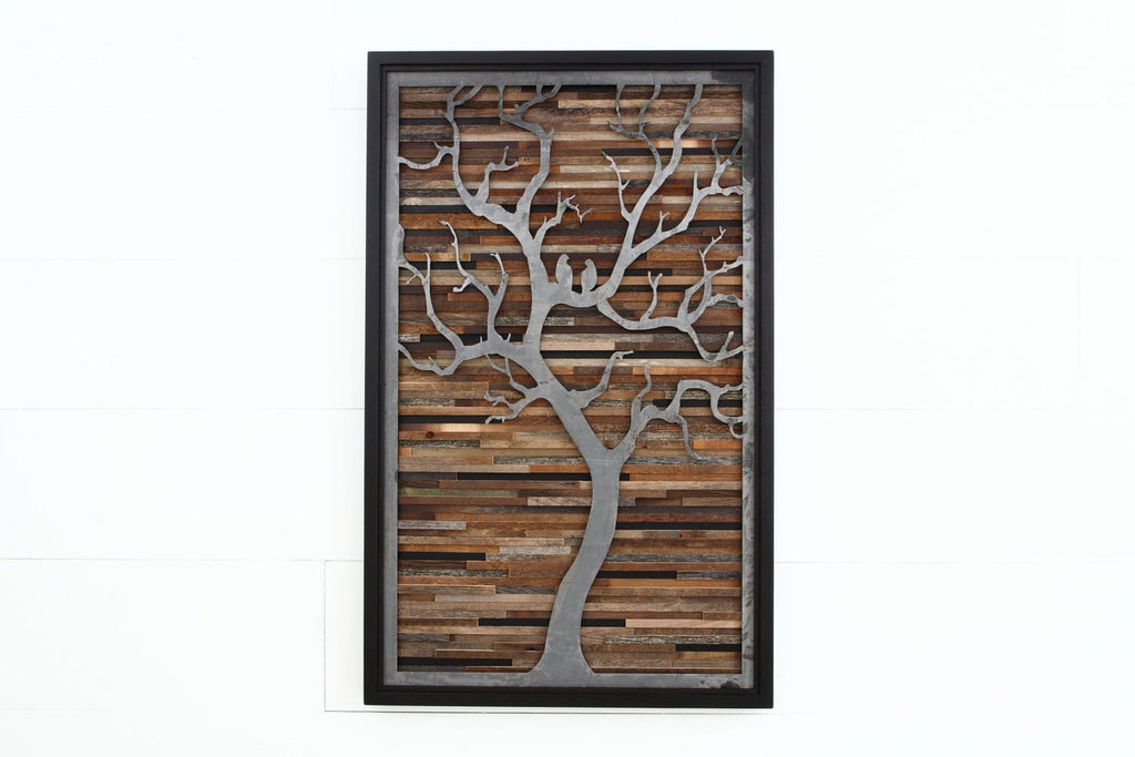 wood & metal artwork of a tree