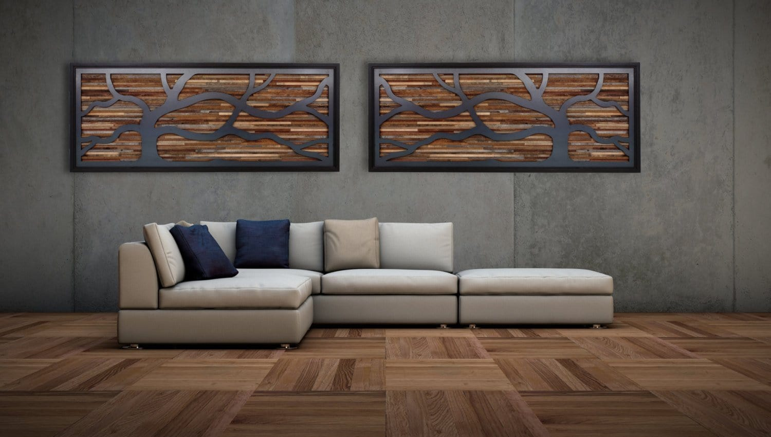 wind swept tree art, metal & wood wall art